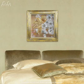 Объемная декоративная картина «Цветы вишни в мягком мерцании золота»
