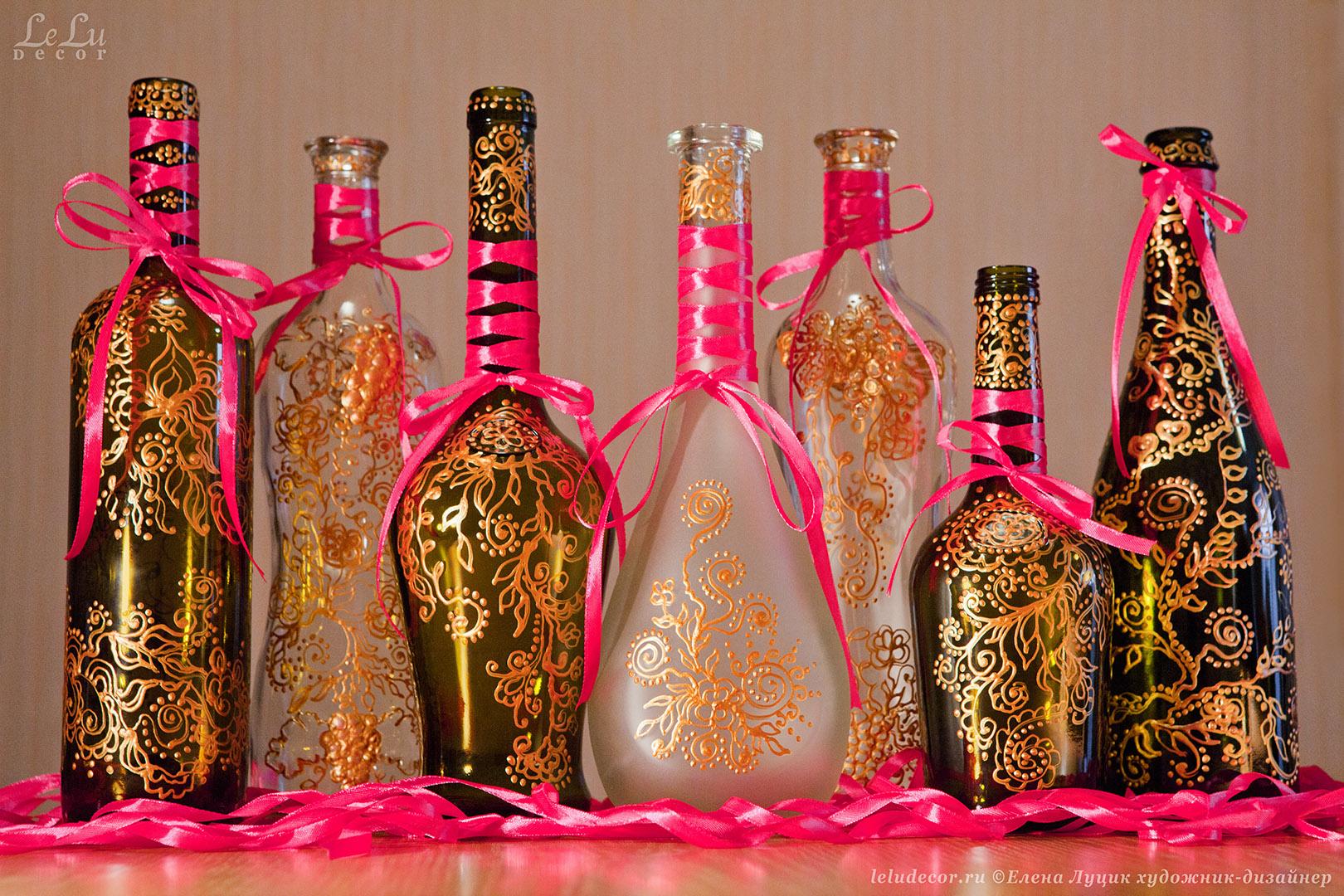 Бутылка своими руками декорирование