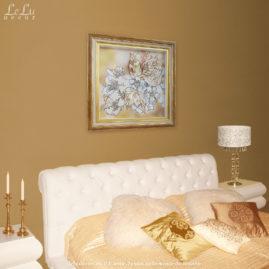 Декоративная объемная картина с цветами вишни в интерьере спальни