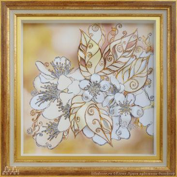 Декоративная объемная картина с цветами вишни