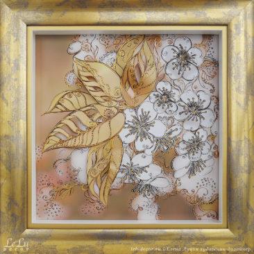 Объемная декоративная картина с цветами вишни