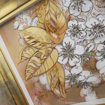 объемная картина с цветами вишни в широкой раме