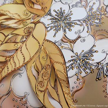 фрагмент объемной картины с цветами вишни