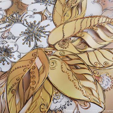 фрагмент объемной декоративной картины с цветами вишни