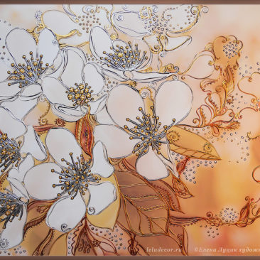 Декоративная картина «Цветы яблони»