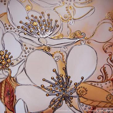 цветы яблони, графическая роспись акрилом