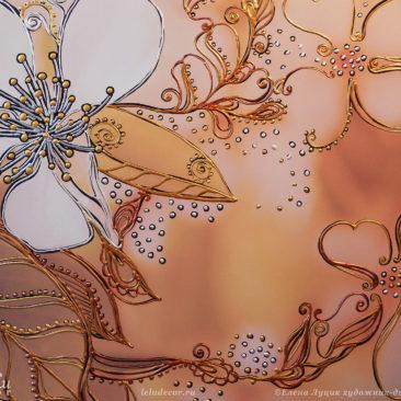 цветы яблони, графическая роспись