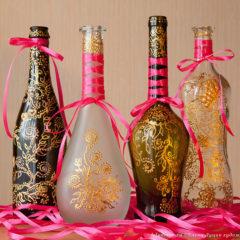 декоративные расписные бутылки