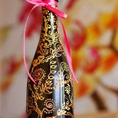расписная декоративная бутылка