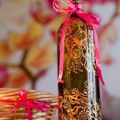 роспись по стеклу и декорирование бутылки