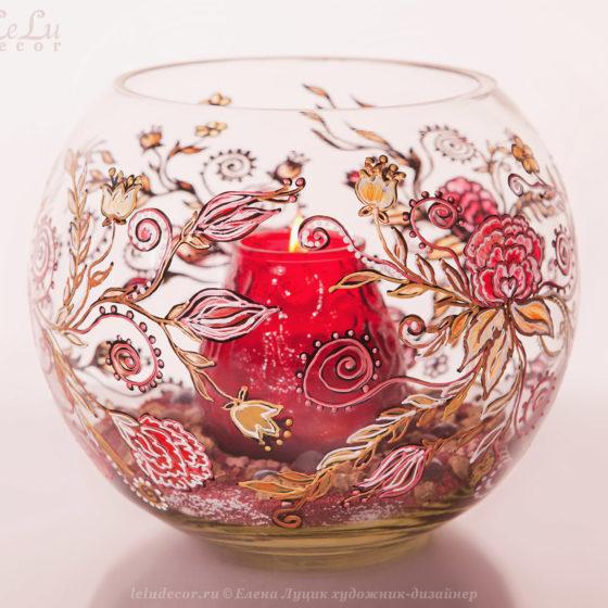 ваза из стекла с подсвечником