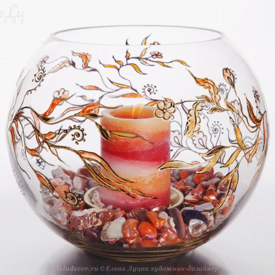 круглая ваза-подсвечник из стекла