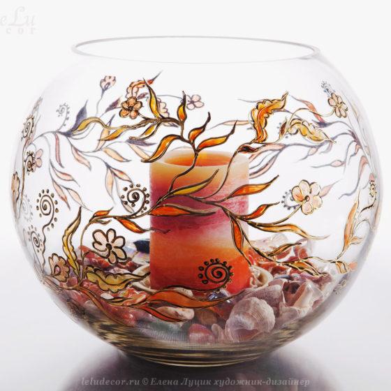 ваза-подсвечник с росписью
