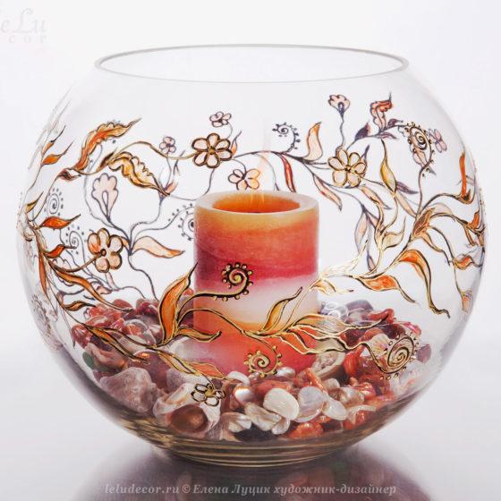 ваза-подсвечник из стекла