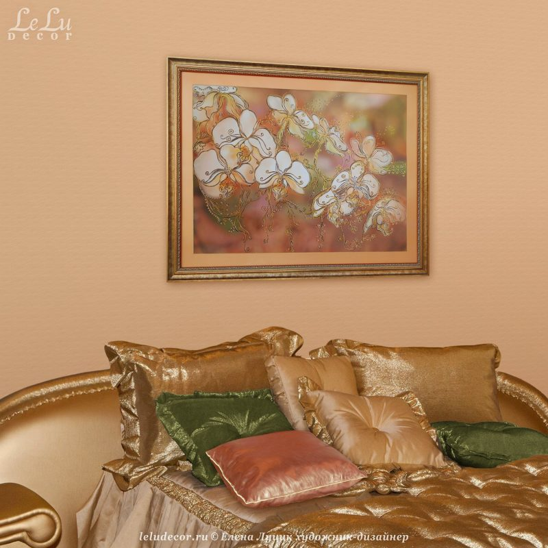 декоративная картина с орхидеями в интерьере
