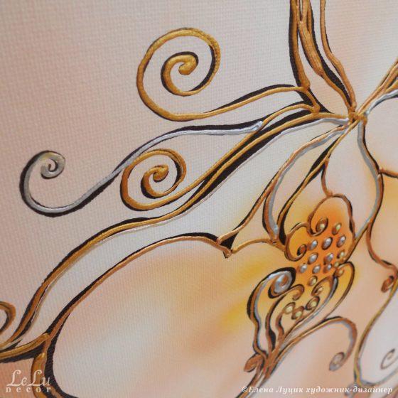 фрагмент декоративной картины с орхидеями