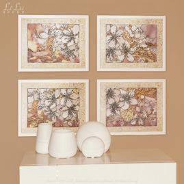 четыре картины с цветами вишни