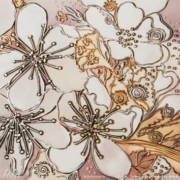 фрагмент картины с цветами вишни