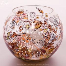 круглая ваза-подсвечник из стекла c росписью