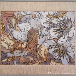 декоративная графическая картина с цветами вишни