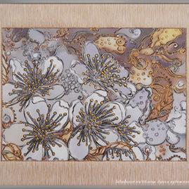 декоративная картина с цветами вишни