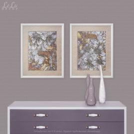 две модульные декоративные картины с цветами в интерьере