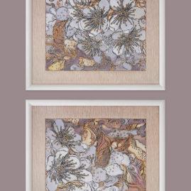 две графические декоративные картины с цветами