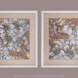 две модульные декоративные картины с цветами вишни