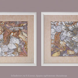 две модульные декоративные картины с цветами