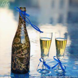 декоративная роспись по стеклу бутылки
