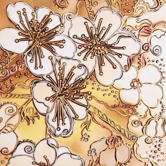 Фрагмент декоративной картины с цветами вишни