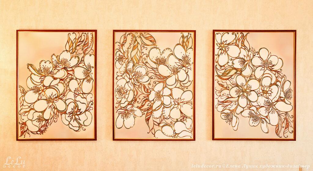 Композиция из трех декоративных картин «Цветочное вдохновение»