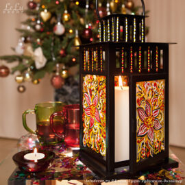 Декоративная роспись по стеклу , новогодний фонарик для свечи