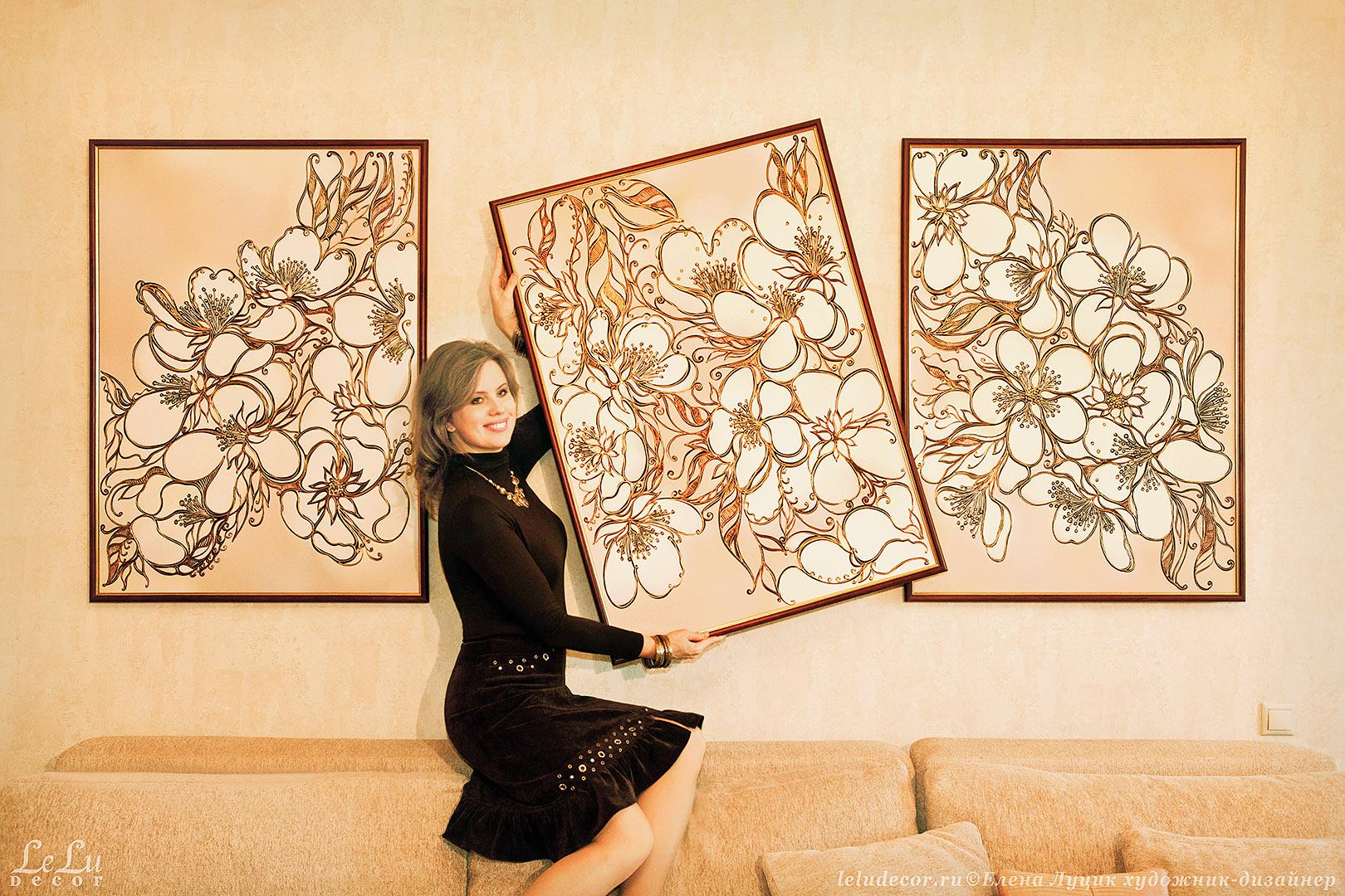 художник-дизайнер Елена Луцик и три декоративные картины