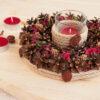 Подсвечник из сосновых шишек «Лесная полянка» и три свечи «Лесные ягоды»