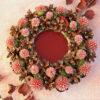 Декоративная композиция: подсвечник из сосновых шишек с сухоцветом «Эхинопс в красках заката»