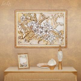 Декоративная картина «Кружева цветущей вишни» и поздравительное письмо.
