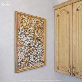 Декоративная картина «Золотистые узоры цветущей вишни»